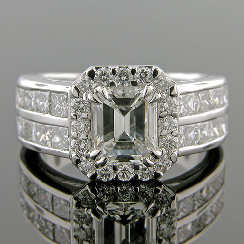 1333-1 Modern double row Princess cut diamond with grooved halo platinum engagement ring semi mount