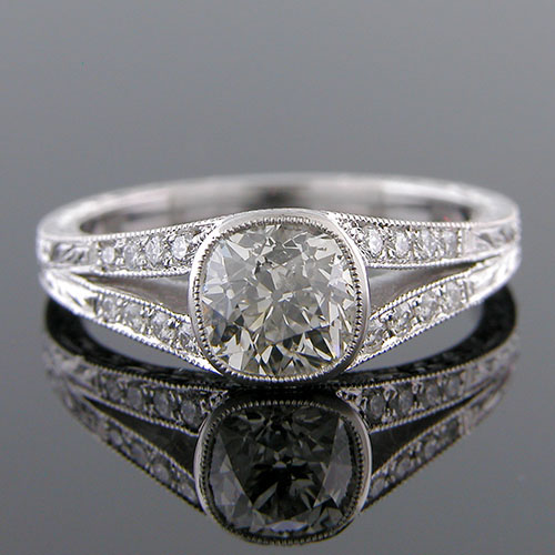 1367-1 Antique reproduction split shank micro Pave platinum engagement ring semi mount