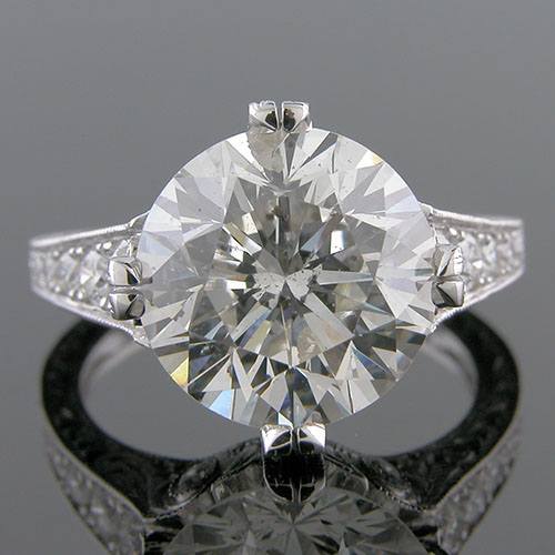 1372-1 Art Deco graduated diamond double cathedral platinum engagement ring semi mount