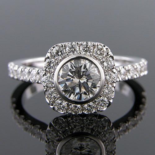 1373-1 Vintage inspired groove set diamond halo platinum engagement ring semi mount