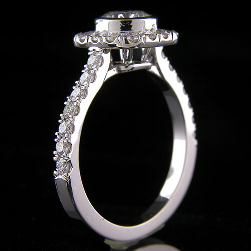 1373-1 Vintage inspired groove set diamond halo platinum engagement ring semi mount - Click Image to Close