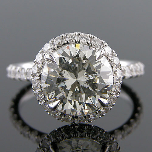 1374-1 Art Deco inspired groove set diamond round shank platinum engagement ring semi mount