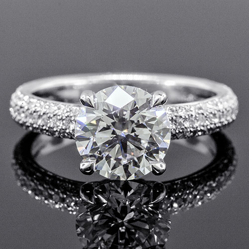 1384-1 Transitional triple row micro Pave set diamond dome shank platinum engagement ring semi mount