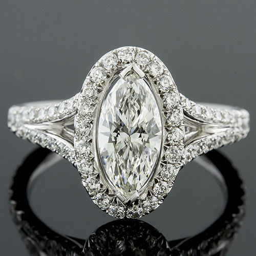 1386M-1 Art Deco-inspired split shank cutdown-set diamond platinum engagement ring semi mount