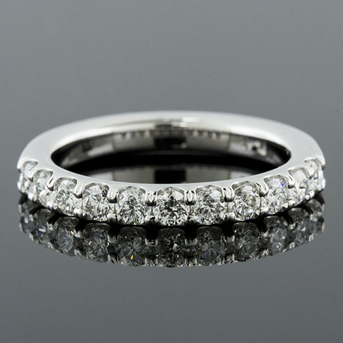 Mid Century-inspired groove set diamond platinum half stone wedding eternity band 1187W-101P