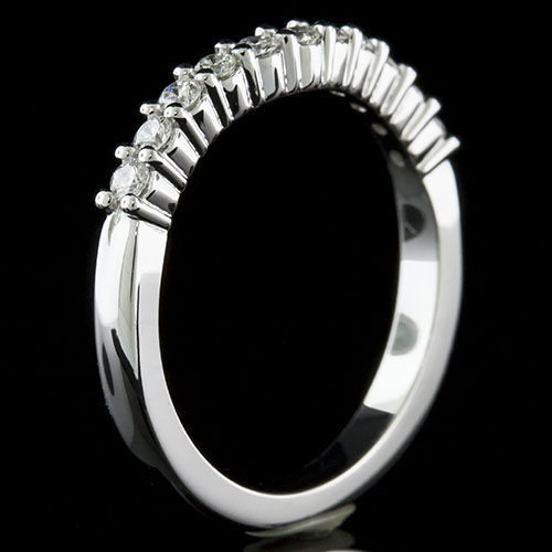 1389W-101P Mid Century-inspired common prong set diamond platinum curved shaped wedding eternity band