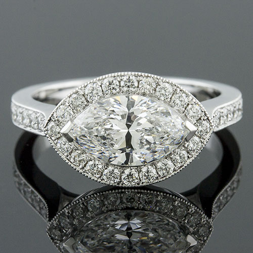 1391-1 Mid Century-inspired Pave set diamond halo platinum engagement ring semi mount