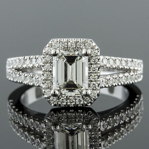 1392-1 Art Deco-inspired split shank groove-set diamond cut-cornered halo platinum engagement ring semi mount
