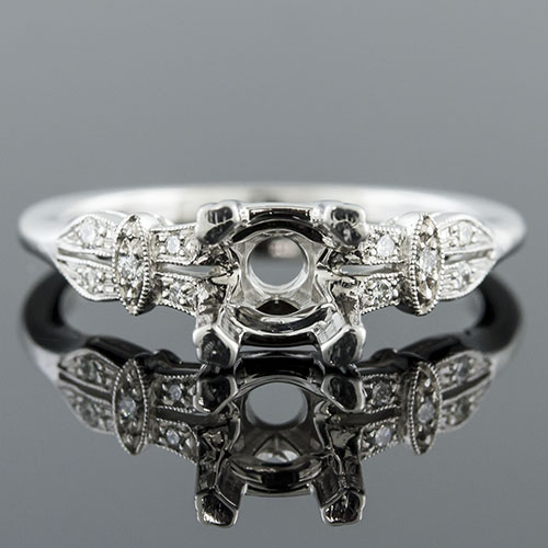 Modern Vintage-inspired Micro Pave set diamond split shank platinum engagement ring semi mount 1394-1