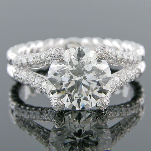 1396-1 Transitional Micro Pave set diamond encrusted split shank engagement ring semi mount