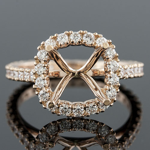 1400PG-1 Modern Vintage-inspired prong set diamond square profile boxed pink rose gold engagement ring semi mount