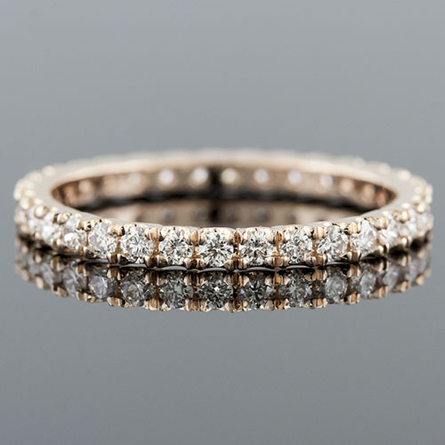 1400WPG-101P Modern Vintage-inspired prong set diamond square profile boxed pink rose gold wedding eternity band