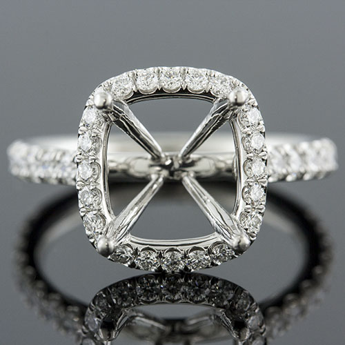 1401-1 Mid Century-inspired groove set diamond halo platinum engagement ring semi mount