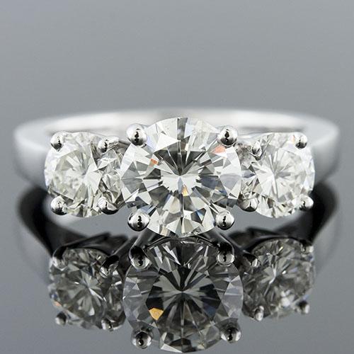 1405-1 Mid Century-inspired 3 stone high shouldered platinum engagement ring semi mount