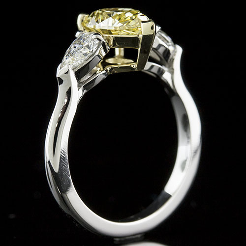 1406-1 Modern Vintage platinum and 18K gold two-tone engagement ring semi mount for 3 pear-shaped diamonds