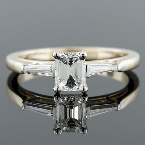 1407Y-1 Modern Vintage-inspired tapered baguette diamond 18K gold two-tone engagement ring semi mount