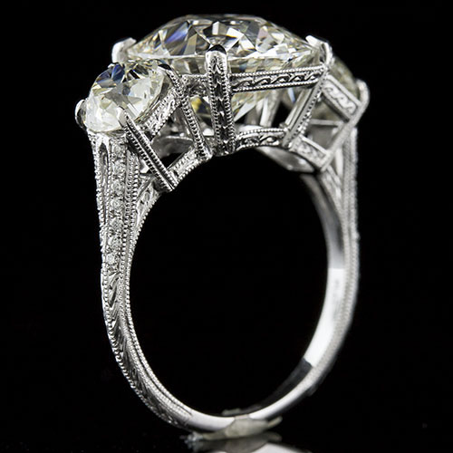 1408-1 Art Deco-inspired Pave set diamond hand engraved 3-stone split shank platinum engagement ring semi mount
