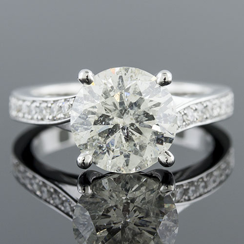 1411-1 Art Deco-inspired Pave set diamond flower head crossover shank platinum engagement ring semi mount
