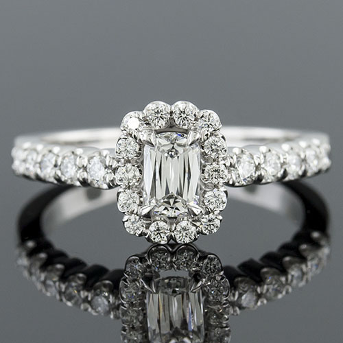 1413-1 Vintage inspired fishtail-set diamond floral motif gallery platinum semi mount engagement ring