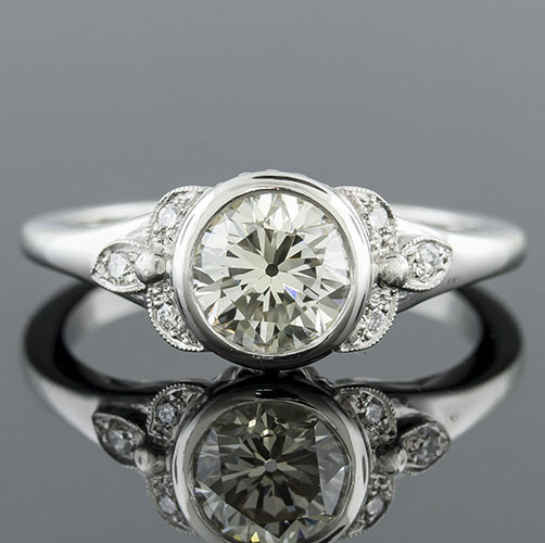 1414-1 Art Deco-inspired Pave set diamond bezel set center engagement ring semi mount