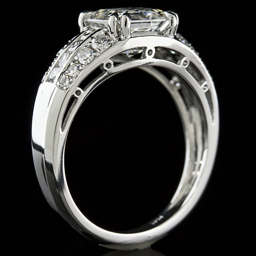 1415-1P Art Deco French cut diamond and Pave set diamond platinum high polish semi mount engagement ring
