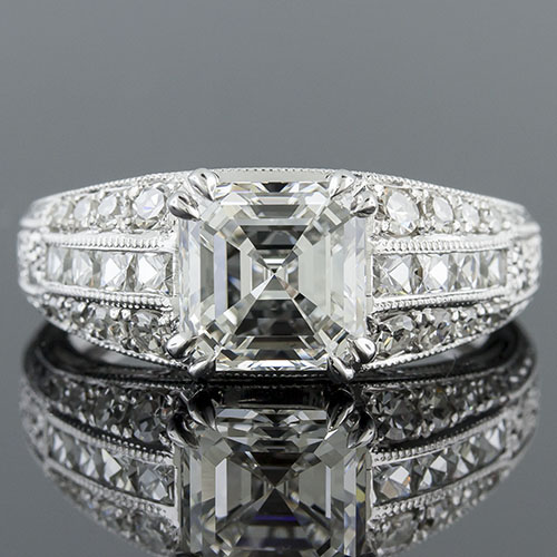 1415-1 Art Deco French cut diamond and Pave set diamond platinum hand engraved semi mount engagement ring