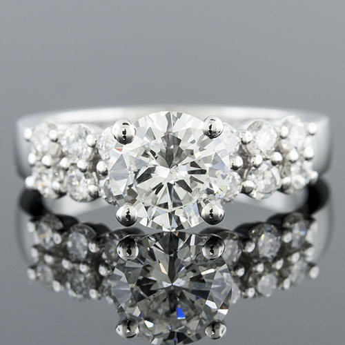 1416-1 Modern Vintage-inspired common prong-set double row diamond engagement ring semi mount