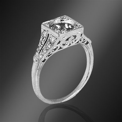 406-1 Art Deco Pave set diamond split shank square top platinum semi mount