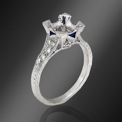410-4 Antique reproduction fancy Trillion sapphire and round diamond platinum semi mount