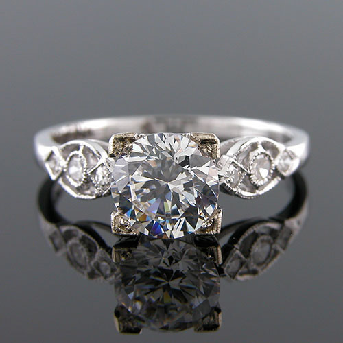415-1 Vintage inspired diamond platinum mount