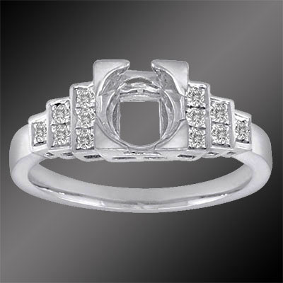 420-1 Art Deco Micro Pave set diamond platinum stepped semi mount