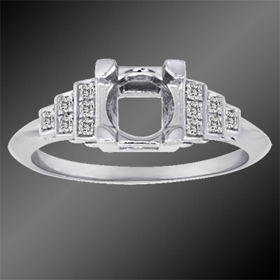 420B-1 Art Deco Micro Pave set diamond platinum stepped semi mount