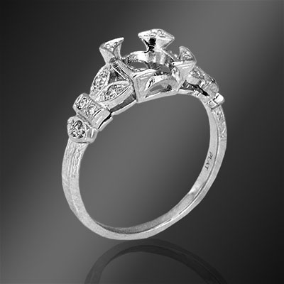 421-1 Art Deco Pave set diamond platinum semi mount