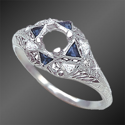 445-4 Antique reproduction fancy Trillion sapphire with diamond platinum semi mount