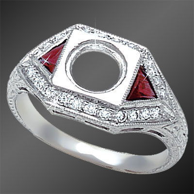 467-3 Art Deco fancy Trillion ruby and Pave set diamond platinum semi mount