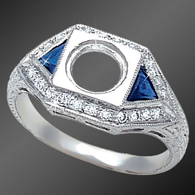 467-4 Art Deco fancy Trillion sapphire and Pave set diamond platinum semi mount