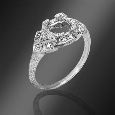 468-1 Art Deco Pave set diamond platinum semi mount