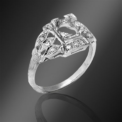 479-1 Art Deco Pave set diamond platinum semi mount