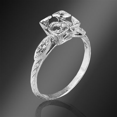 483-1 Art Deco Pave set diamond platinum semi mount