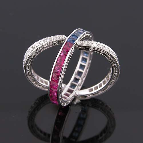 48749 Unique Vintage inspired ruby, sapphire & diamond multi-segment hinged wedding eternity band - Click Image to Close