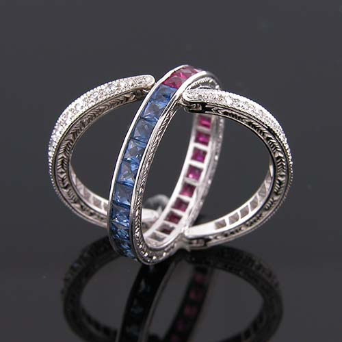 48749 Unique Vintage inspired ruby, sapphire & diamond multi-segment hinged wedding eternity band