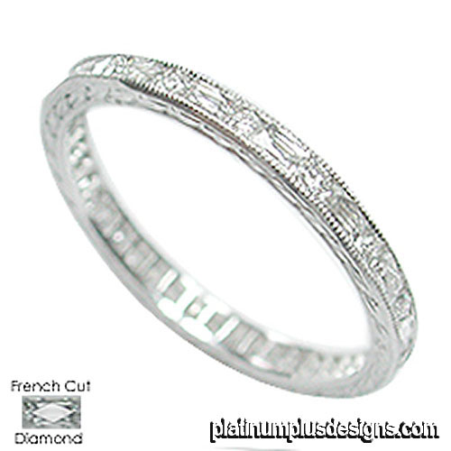 544B-103 Vintage inspired French cut baguette diamond platinum wedding band