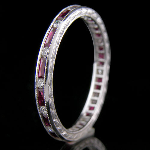 544B-320 Vintage inspired French cut baguette ruby and round diamond platinum wedding band
