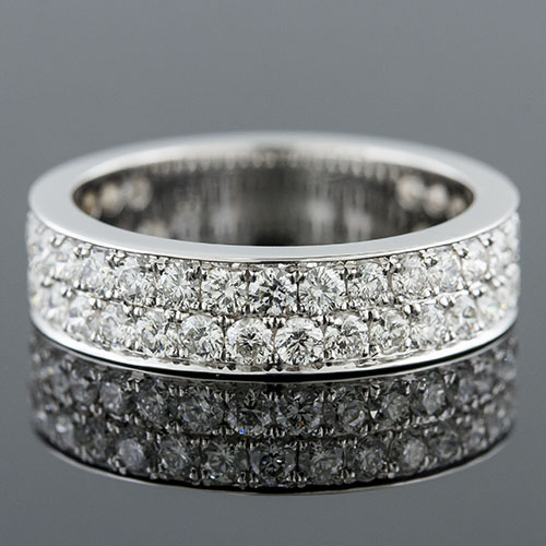 578-101P Mid-Century Modern double row offset Pave set diamond platinum wedding eternity band