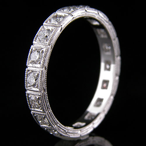 599-101 Art Deco inspired Pave set diamond segmented platinum wedding eternity band