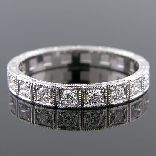 599H-101 Art Deco inspired Pave set diamond segmented platinum half-stone wedding eternity band