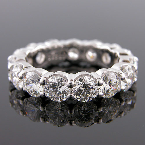 PPD149-101P 5 carat common prong-set diamond platinum eternity wedding band