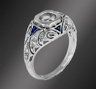 663-4 Antique reproduction fancy French cut trillion sapphire with diamond platinum filigree semi mount