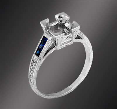 684-4 Vintage inspired fancy French cut sapphire high set center stone platinum semi mount