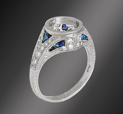 Antique reproduction fancy cut sapphire with diamond platinum semi mount 684-4